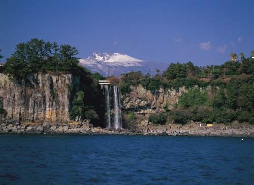 Jeju Island's Jeongbang Waterfall is famous for its proximity to the ocean. (Jeju Special Self Governing Province)