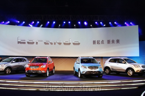 Ssangyong Motor showcases the Korando C, a sport utility vehicle, during an unveiling event at a hotel in Beijing on Sept. 23. (Ssangyong Motor Co.)