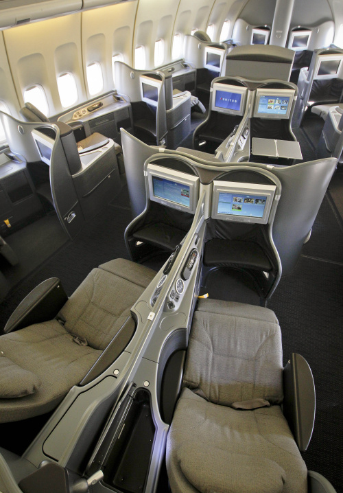 The new first class interior section of a United Airlines 747 plane at San Francisco International Airport. (AP-Yonhap News)