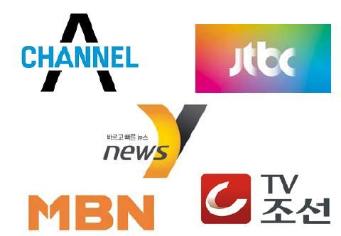 Logos for the four general programming channels Channel A, jTBC, MBN and TV Chosun, and all-news channel News Y.