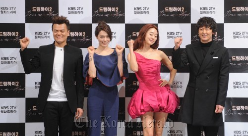 "From left to right: Park Jin-young, Kahi, Choi Yeo-jin and Kim Jung-tae attend the ""Dream High 2"" press conference Tuesday at the Imperial Palace Hotel in Seoul. (Lee Sang-sub/The Korea Herald)"