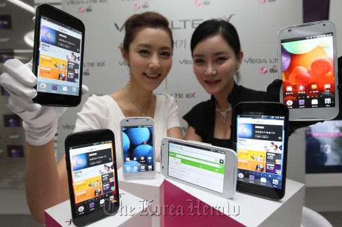 LG Uplus Showcases New LTE Smartphones At Its Headquarters In Seoul Yonhap News