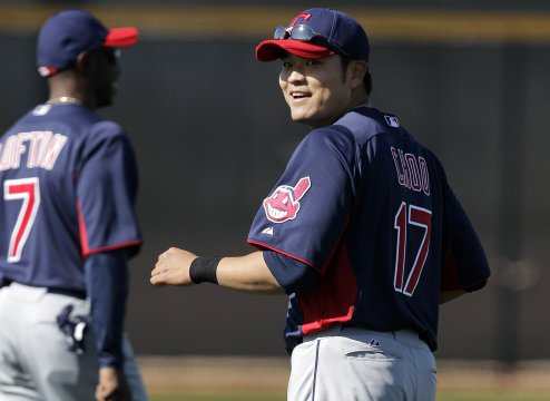 Cleveland Indians rightfielder Choo Shin-soo during a spring training workout in Goodyear, Arizona. (AP-Yonhap News)
