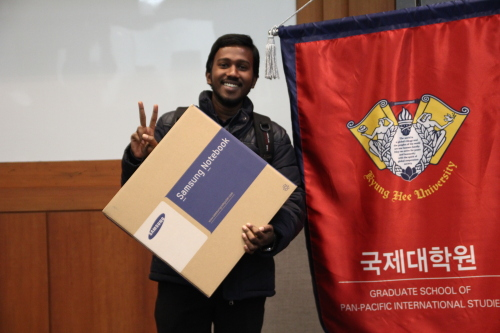 This undated photo shows James Rana Baidaya, one of sponsored children by Korean actress Kim Hye-ja, posing for a photo at Kyunghee University in Yongin, Gyeonggi Province. World Vision Korea