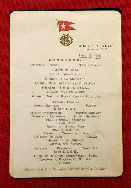 Menu From Titanic S Last Lunch Sells At U K Auction