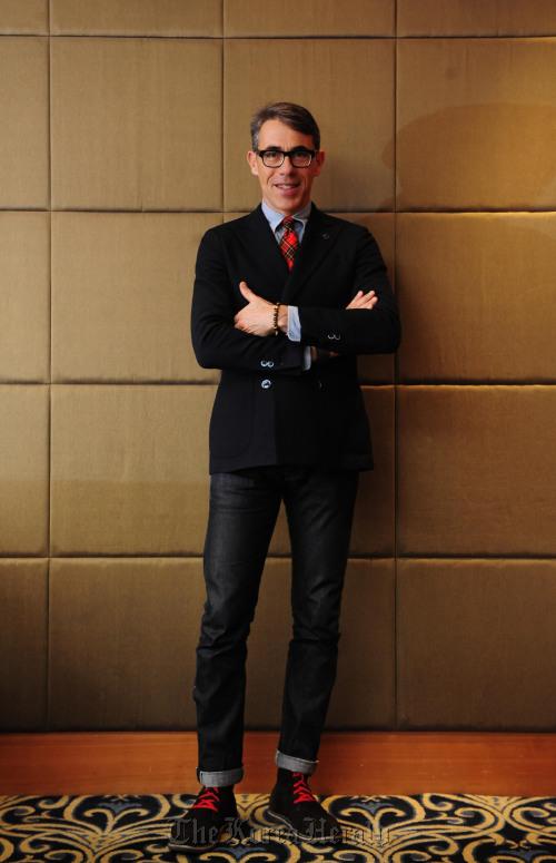 Alberto Scaccioni poses ahead of an interview in Seoul. (Park Hae-mook/The Korea Herald)