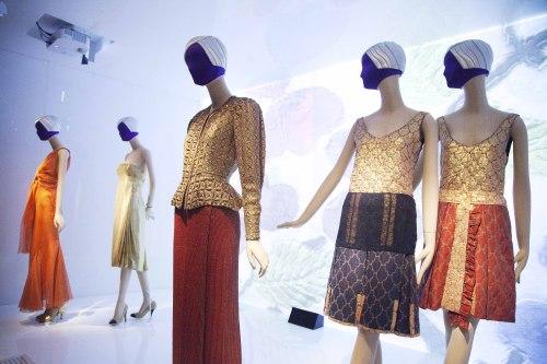 Fashions by Miuccia Prada and Elsa Schiaparelli are displayed at the Metropolitan Museum of Art, Monday. (AP-Yonhap News)