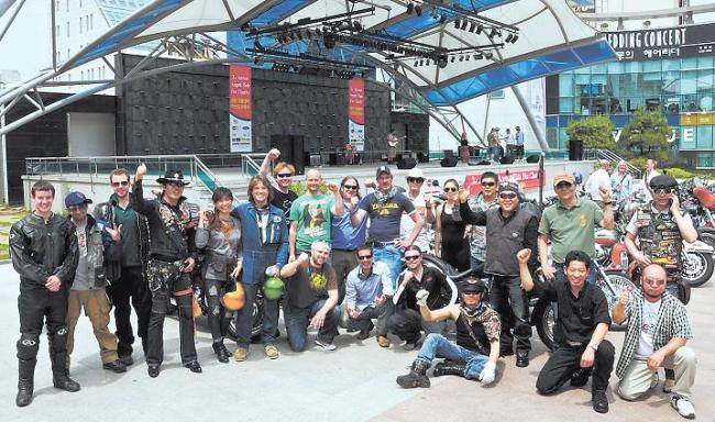 Motorcyclists pose in front of the venue before last year's charity Angel Ride. Glen Riley