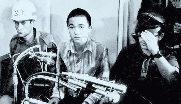 Terrorist Kozo Okamoto is pictured during his 1972 trial for the Lod Airport attack. (Shurat HaDin-Israel Law Center)