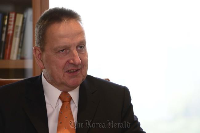 Bernd Reckmann, a general partner and member of the executive board for Merck KGaA. (The Korea Herald)