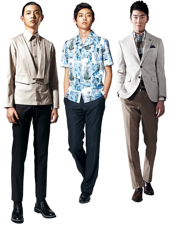 (From left) A summer shirt with an attached vest by Caruso (Korea Fashion Association)A shirt with a traditional Korean pattern in cool and light fabric by HANTTREJacket and pants in cool and light fabric by Cambridge Members