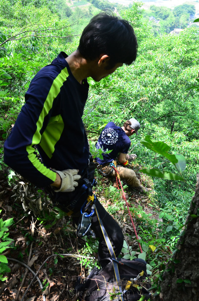 Volunteers help secure climbing routes at Yeongseo Pokpo during a recent KOTRi activity. (KOTRi)
