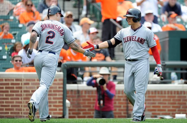 Indians outfielder Aaron Cunningham (left) celebrates his home run with teammate Choo Shin-soo on Sunday. (AFP-Yonhap News)