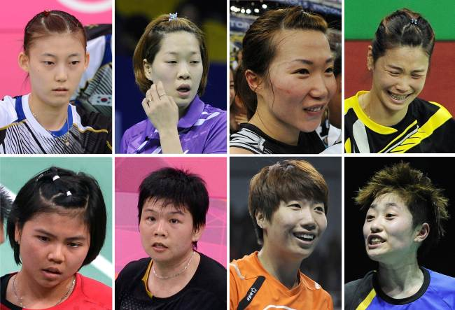 The eight badminton players who were disqualified: (top row) Korea's Kim Ha-na, Ha Jung-eun, Kim Min-jung and Jung Kyung-eun. (bottom row) Indonesia's Greysia Polii and Meiliana Jauhari; and China's Wang Xiaoli and Yu Yang. (AFP-Yonhap News)