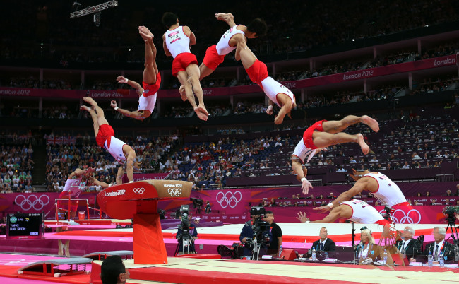 Yang Hak Seon of South Korea competes during men's vault final contest of Gymnastics Artistic event, at London 2012 Olympic Games in London, Britain, Monday (Yonhap News)