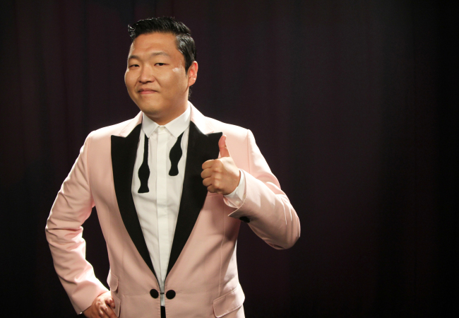 This Aug. 22, 2012 photo shows Korean rapper Psy posing for a photo in New York. (AP-Yonhap News)