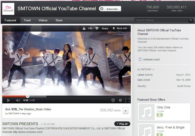 S.M. Entertainment's official YouTube channel with more than 500 million video views (YouTube)