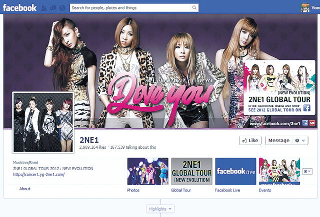 Girl group 2NE1's Facebook page with more than 29 million likes (Facebook)