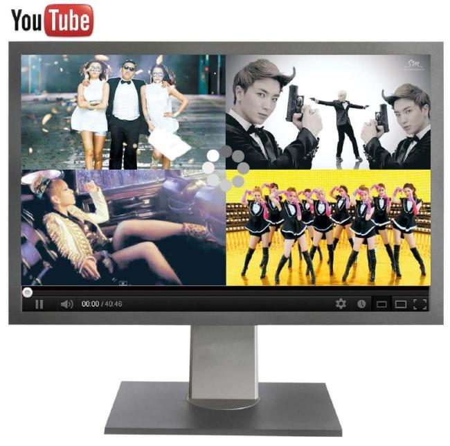 """Screen captures of K-pop music videos on YouTube show (from top left, clockwise) Psy's """"Gangnam Style,"""" Super Junior's """"Spy,"""" Girls' Generation's """"Paparazzi"""" and 2NE1's """"I Love You."""" (YouTube)"""