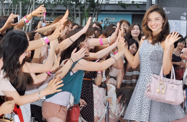 Model Miranda Kerr attends a event of Japanese fashion company
