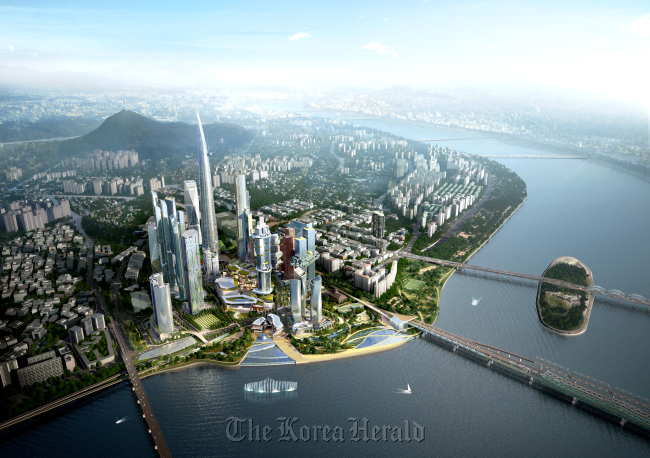The final design plan for the Yongsan International Business Zone in central Seoul