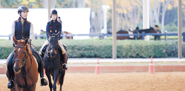 Riders go for a trot at Royal Saddle Equestrian Society, a riding stable in Goyang, Gyeonggi Province. (Ahn Hoon/The Korea Herald)