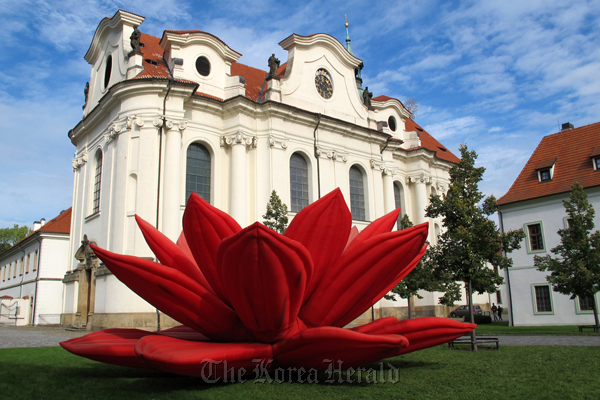 """Breathing Flower/Red Lotus"" by Choi Jeong-hwa at Brevnov Monastery in Prague. (JW Stella Arts Collectives)"