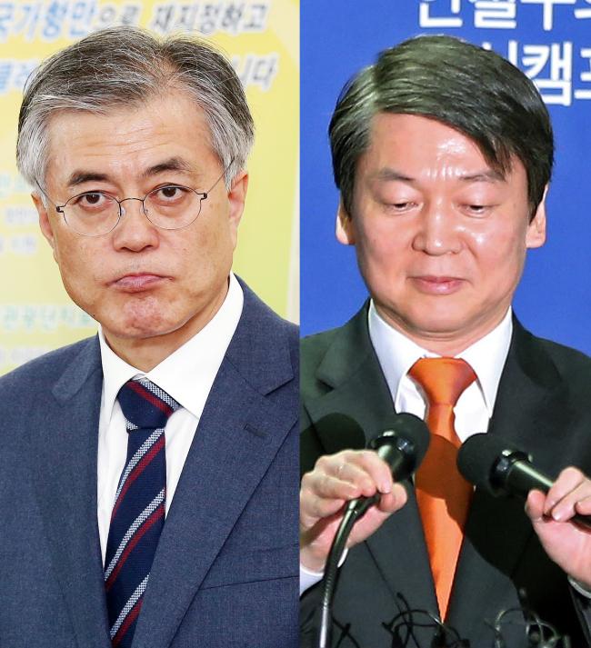 Moon Jae-in, Ahn Cheol-soo. (Yonhap News)