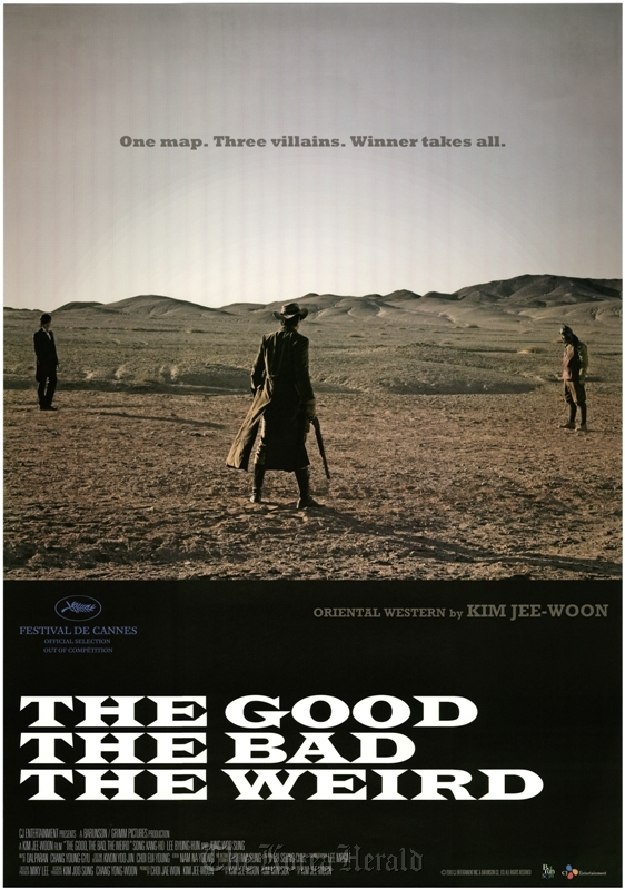 """An English-language promotional poster of director Kim Ji-woon's 2008 film """"The Good, the Bad, the Weird"""" (Korean Film Archive)"""