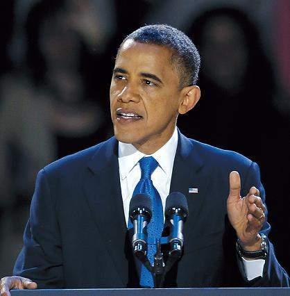 U.S. President Barack Obama delivers a speech marking his reelection victory in Chicago on Nov. 7. (AP-Yonhap News)