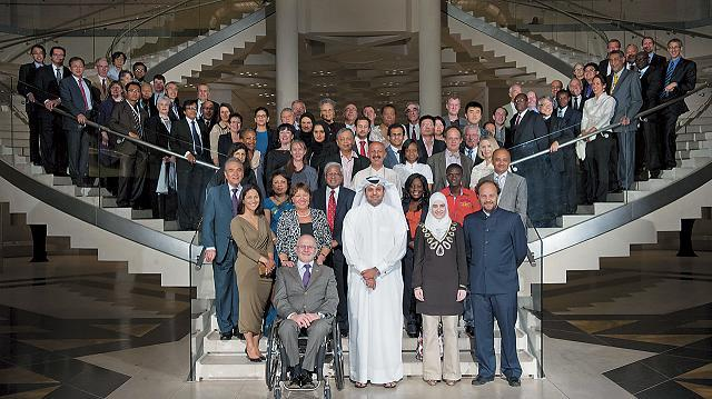 Participants pose at the World Innovation Summit for Education 2012 in Doha, Qatar on Nov. 15. (WISE)