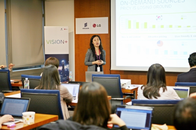Ericsson Inc. ConsumerLab East Asia head Cathaya Xu delivers a presentation on TV media consumer insights in Seoul.