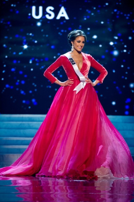 Miss Universe Olivia Culpo in her wintery red velvet gown. (AP)
