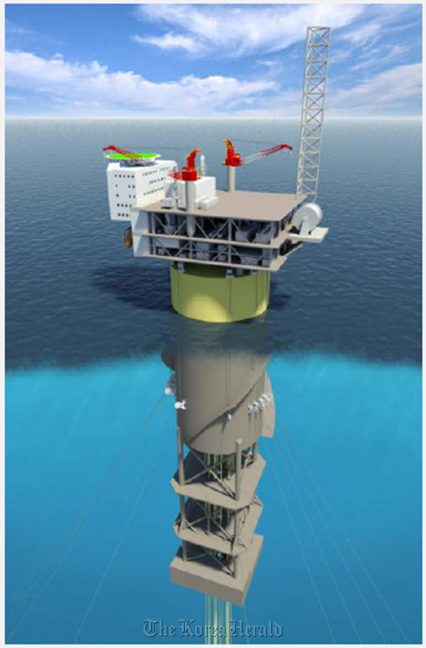 An artist rendering of a spar platform, which is a deep-draft floating caisson. (HHI)