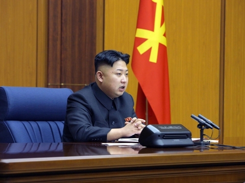 North Korean leader Kim Jong Un attends an enlarged meeting of the