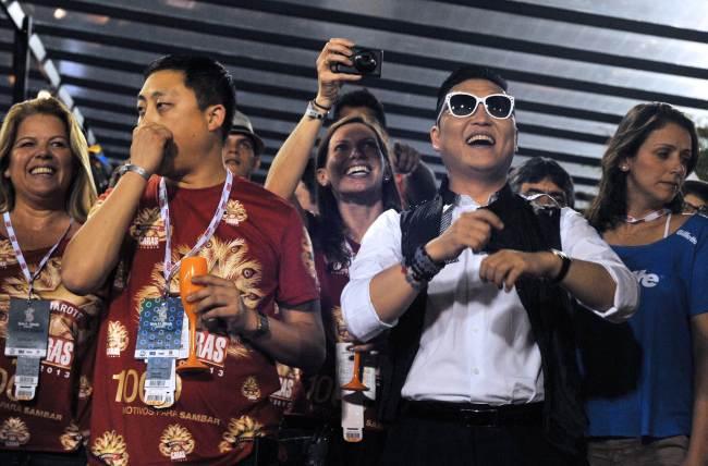 South Korean singer Psy smiles at the Sambadrome in Rio de Janeiro, Brazil on February 9, 2013. (AFP)