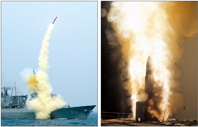 The South Korean military (left photo) demonstrates the performance of ship-to-surface and submarine-to-surface cruise missiles newly deployed on a 4,400-ton KDX-II destroyer and a 1,800-ton submarine on Thursday. In the right photo Standard Missile 3 Block 1A interceptor is launched from the USS Lake Erie during a Missile Defense Agency and U.S. Navy test in the mid-Pacific, Tuesday. (NAVY/ AP-Yonhap News)