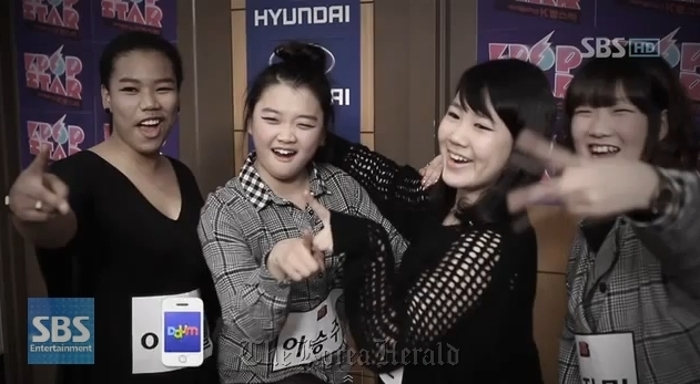 "A screen shot of the original SuPearls girl group members during the filming of the first season of the ""K-Pop Star"" survival audition program. (SBS)"
