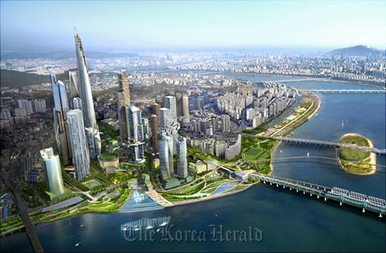 Artist's rendering of the Yongsan International Business District (Dream Hub)