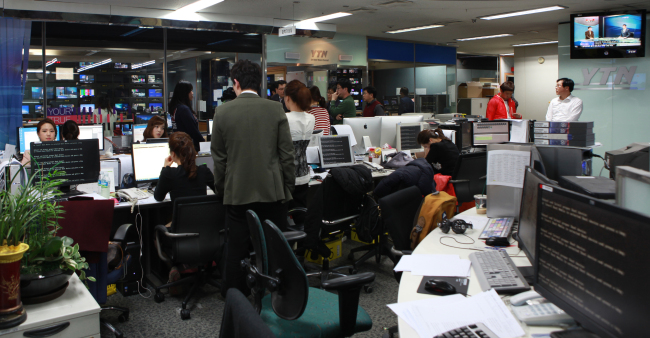 YTN newsroom after the network paralysis on Wednesday afternoon. (YTN-Yonhap News)