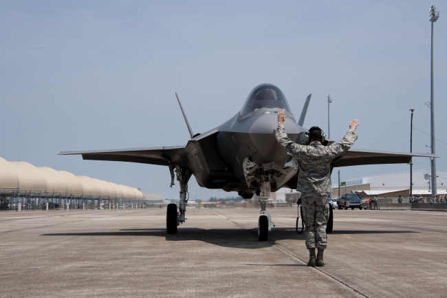 An F-35A lands at Eglin U.S. Air Force Base in Florida. (USAF)