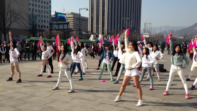 A group of student dancers perform in Gwanghwamun Square on March 16. (Ye-in Dance School)
