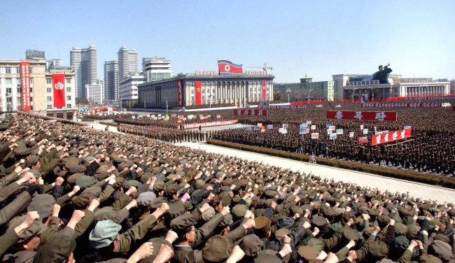 A mass rally held in Pyongyang last month. (Yonhap News)