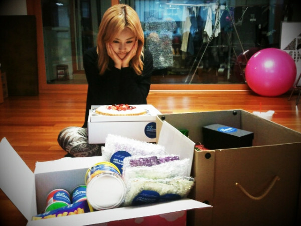 Heo Ga Yoon Of Girl Group 4minute Poses Behind Birthday Gifts Yoons Twitter Accout