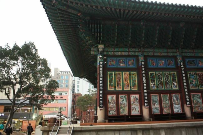The exterior of Jogyesa Temple in downtown Seoul