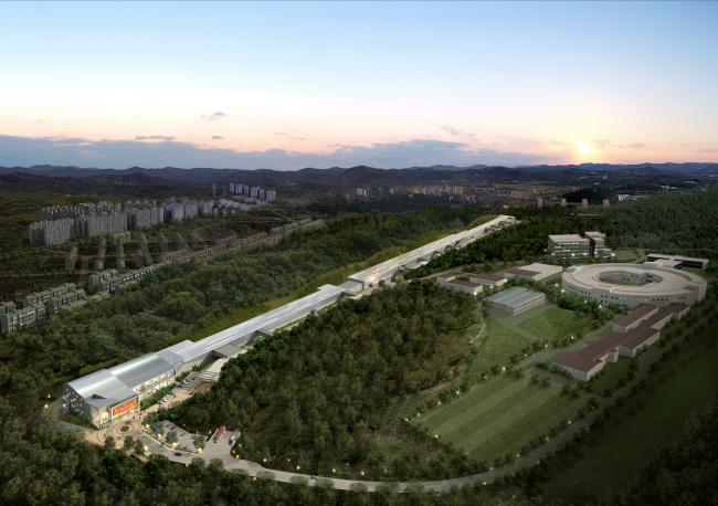 An aerial view of where the fourth-generation synchrotron facility will be constructed in Pohang, North Gyeongsang Province. (POSTECH)