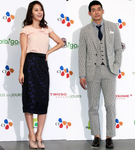 Baek Ji-young (left) and Chung Seok-won are expecting their child this fall. (Yonhap News)