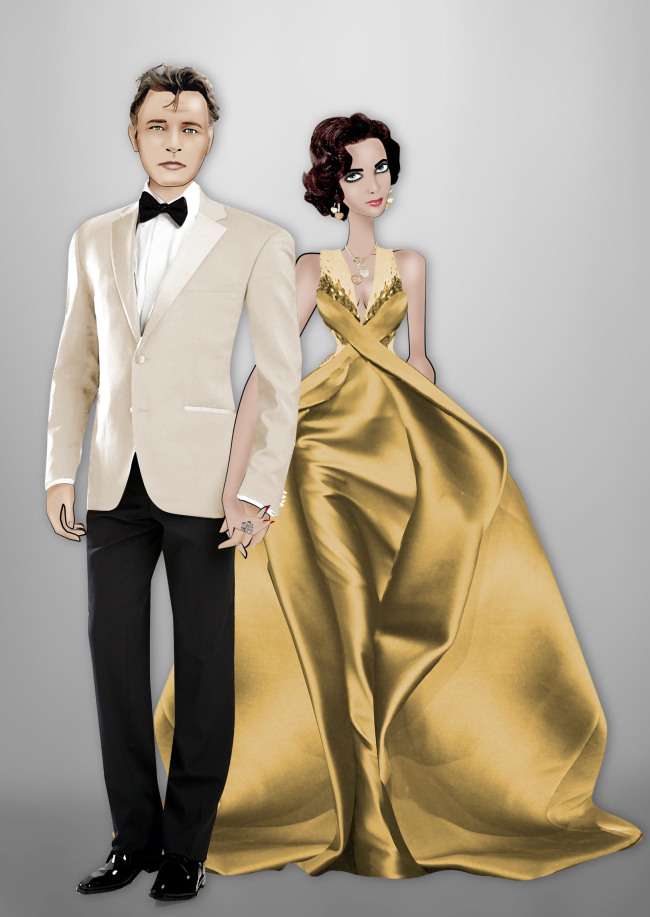 This computer-generated image released by Armani shows animated images in the likeness of actors Richard Burton and Elizabeth Taylor. (AP-Yonhap News)