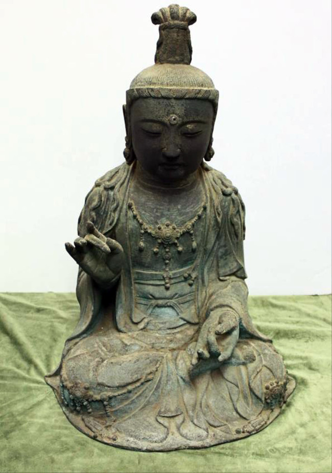 The Gwaneum Bosal Buddhist statue, which was recently taken from Japan. (Yonhap News)