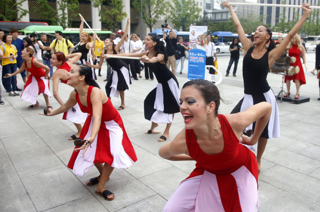 Dancers Participating In The 2013 Cuban Culture Art Festival Present Traditional Dance Performance Habana Compas At Seouls Gwanghwamun